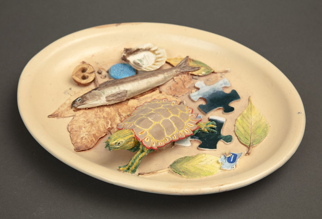 Richard Shaw Low Tide Striped Turtle with Puzzle Pieces