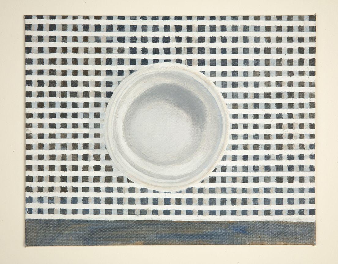 Martha Shaw Untitled (Plate on Blue/Gray Checks)