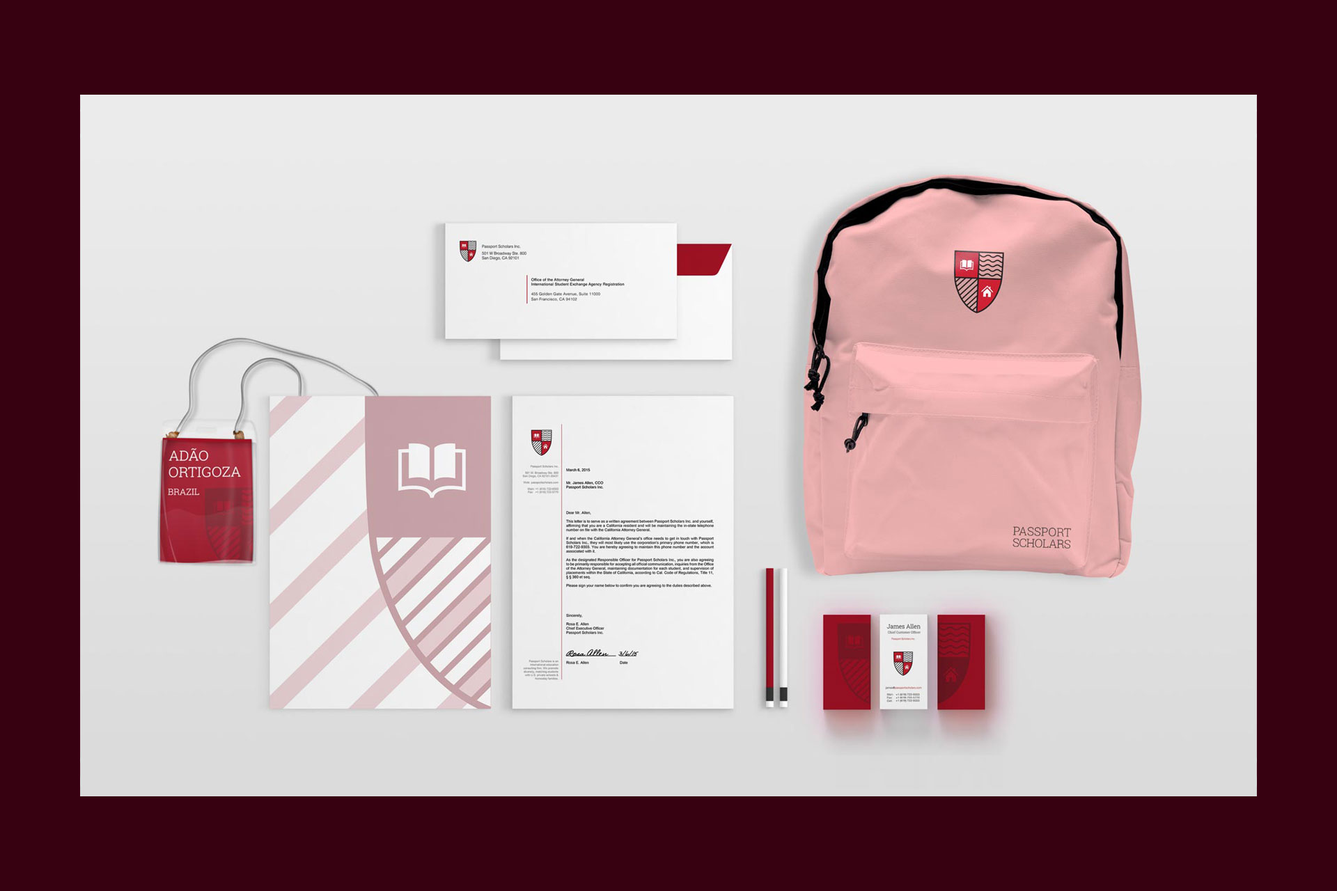 Corporate stationery and a backpack displaying the Passport Scholars logo and brand colors (red, white, and black).