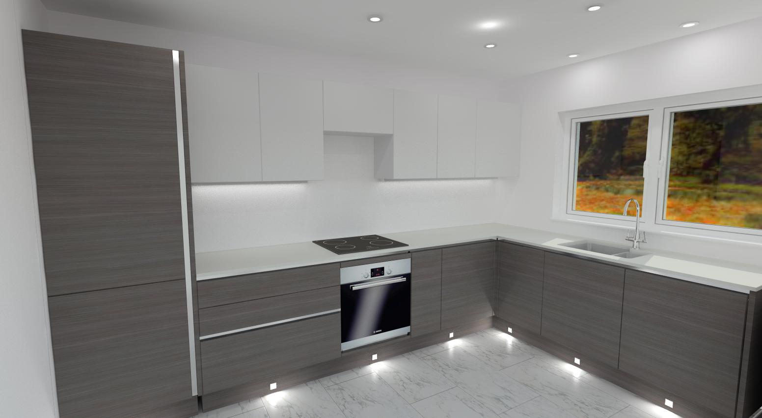 Grey oak + matt white unit + compact laminate white marble worktop