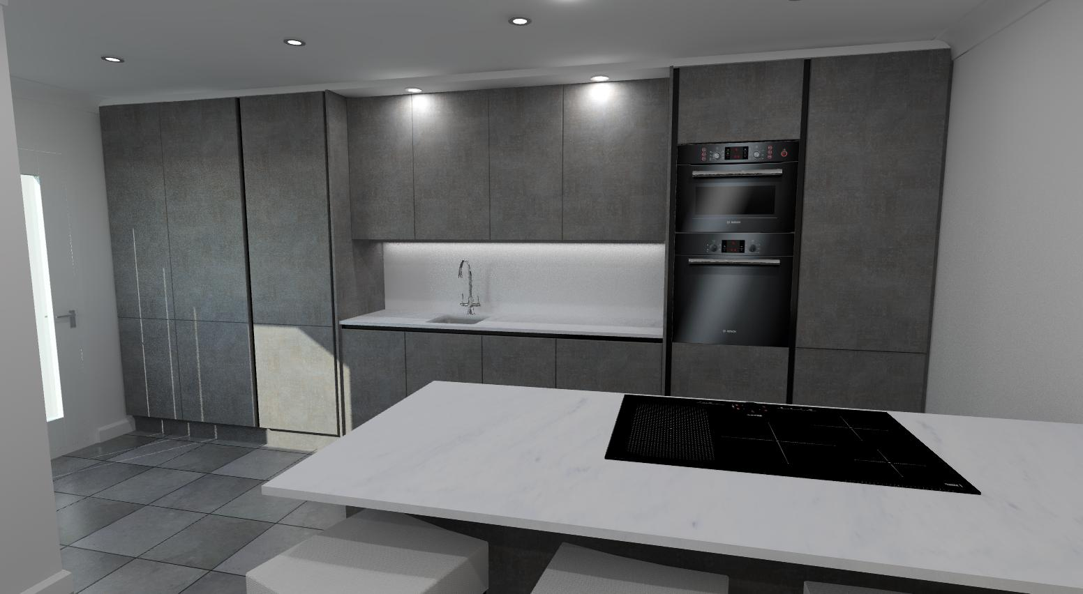 Dark concrete unit + slab tech white carrara worktop