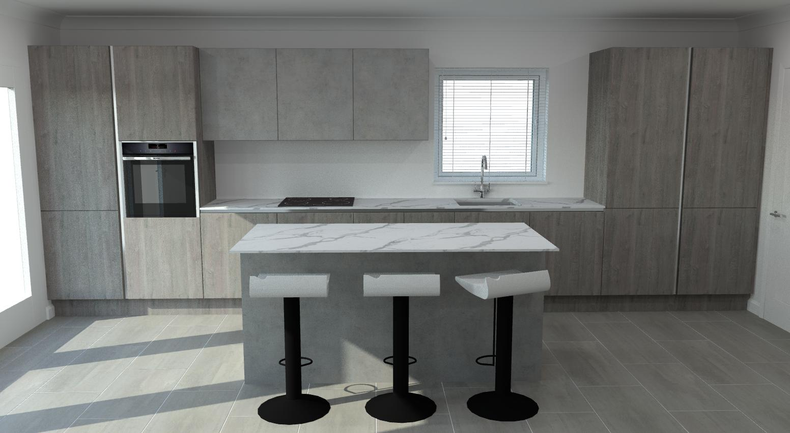 Grey oak and concrete units with compact laminate white marble worktops