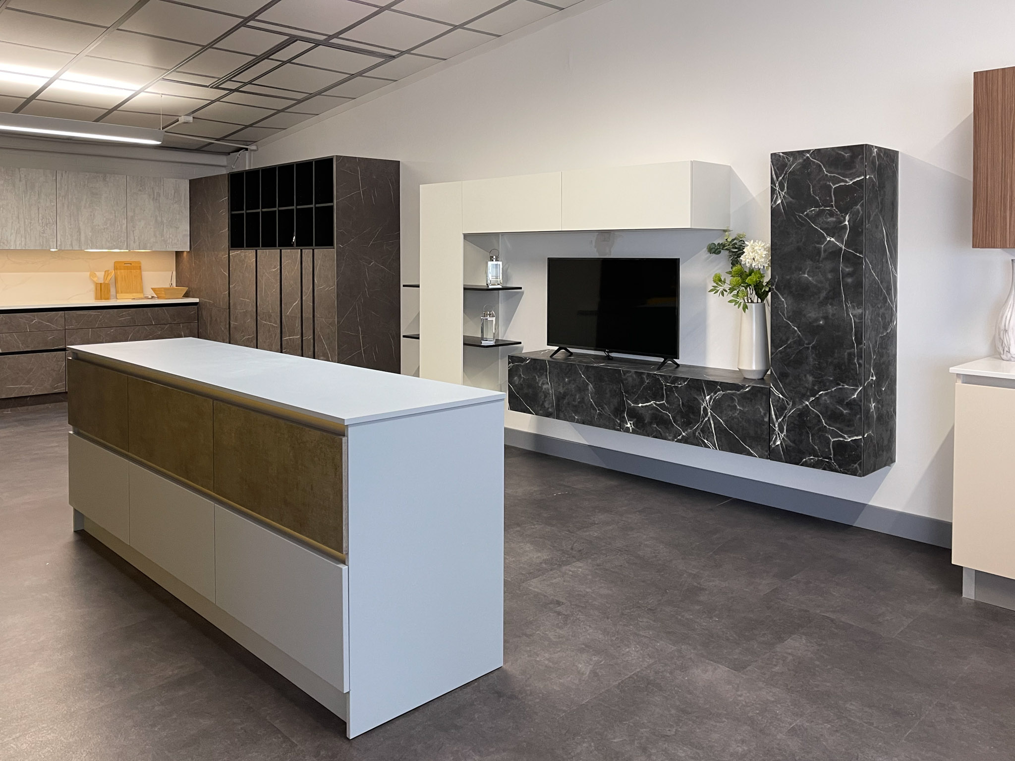 Upstairs showroom media unit