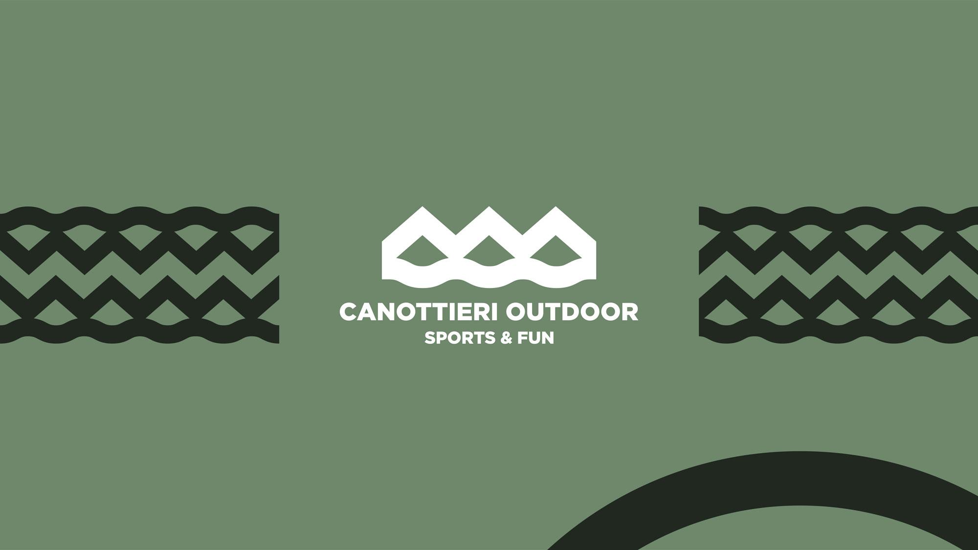 logo canottieri outdoor bianco su sfondo verde con pattern verde scuro
