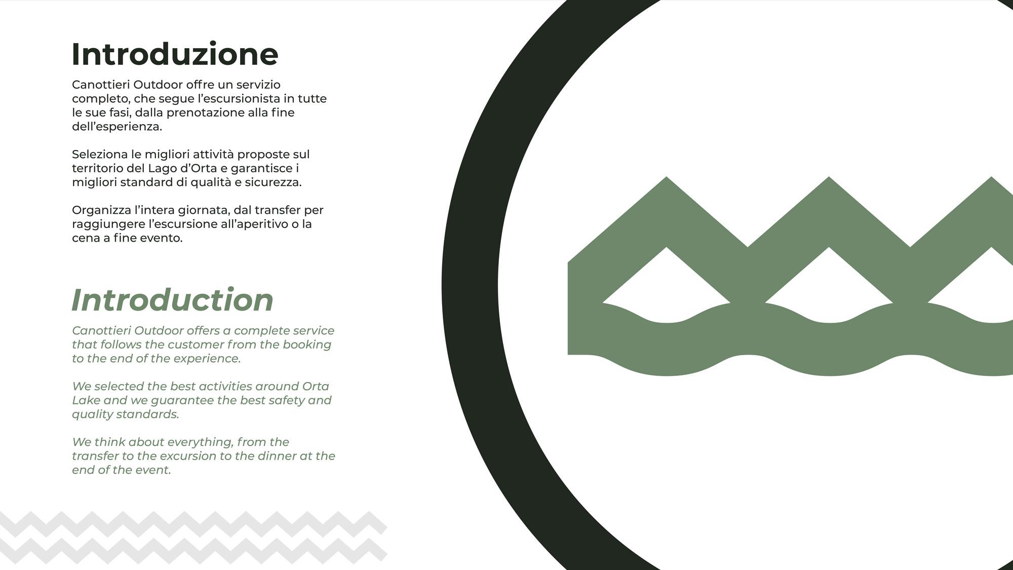 Paragrafo di introduzione del progetto di logo e brand identity di canottieri outdoor. testo di colore nero e verde sulla sinistra su sfondo bianco e sulla destra il logo