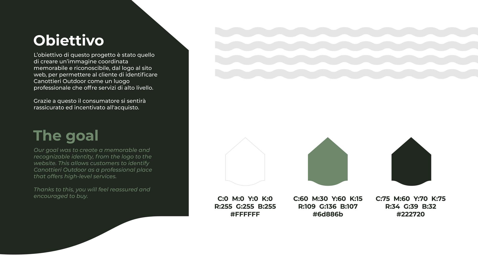 descrizione dei codici colori utilizzati per il logo e la brand identity di canottieri outdoor su sfondo bianco
