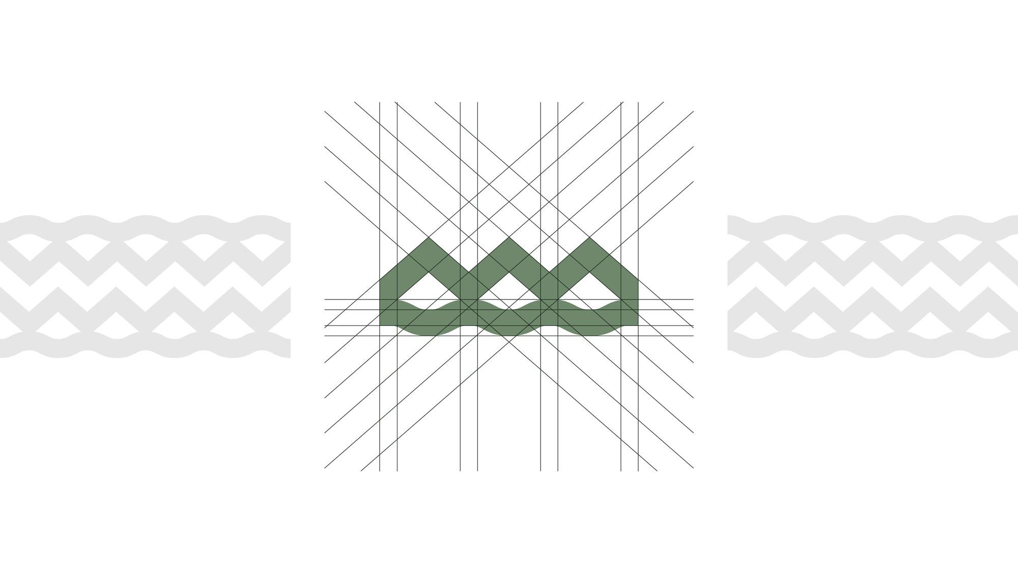 griglia di costruzione del logo canottieri outdoor verde su sfondo bianco