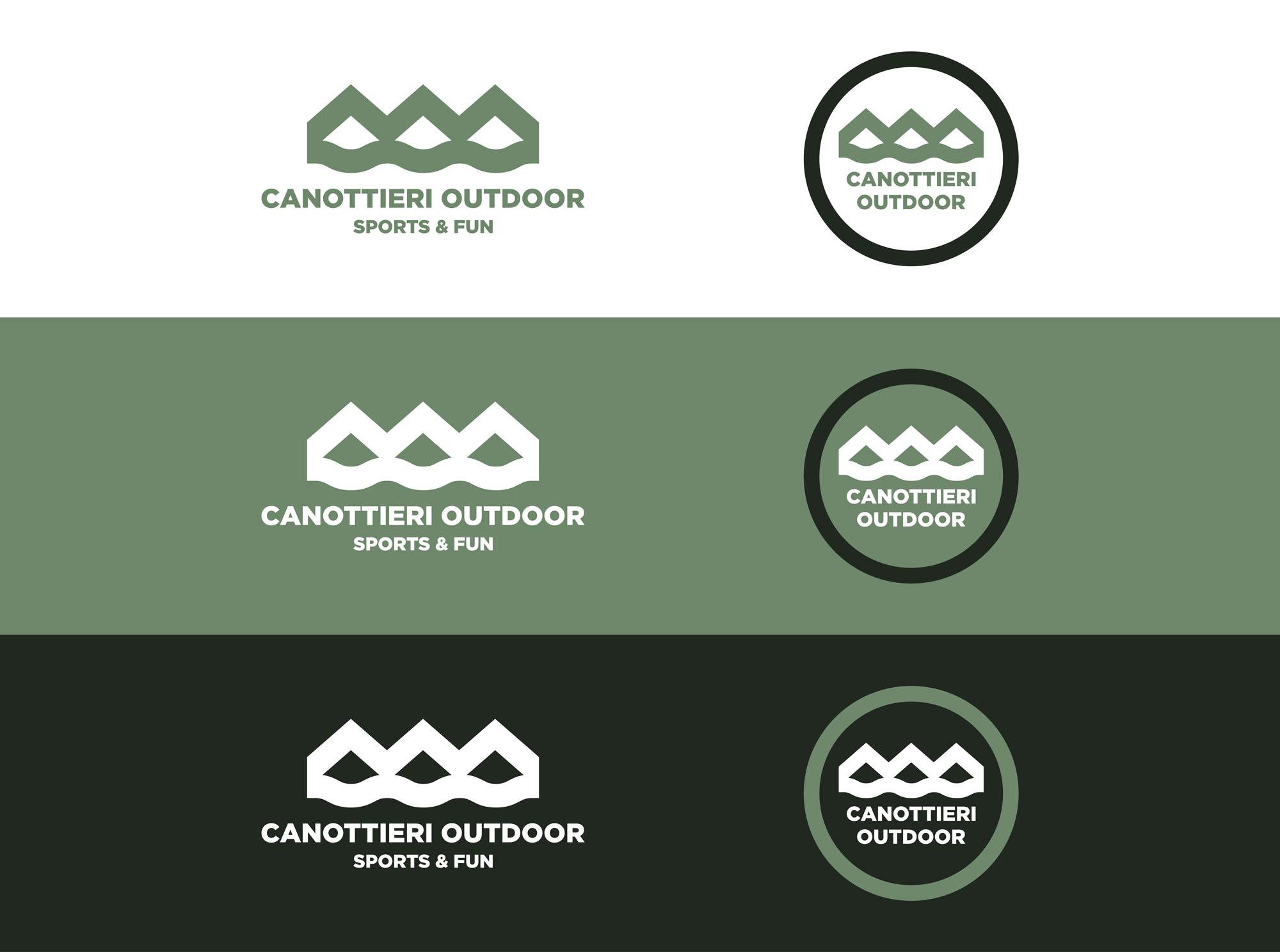 diverse versione del logo canottieri outdoor su sfondi di colore bianco, verde chiaro e verde scuro