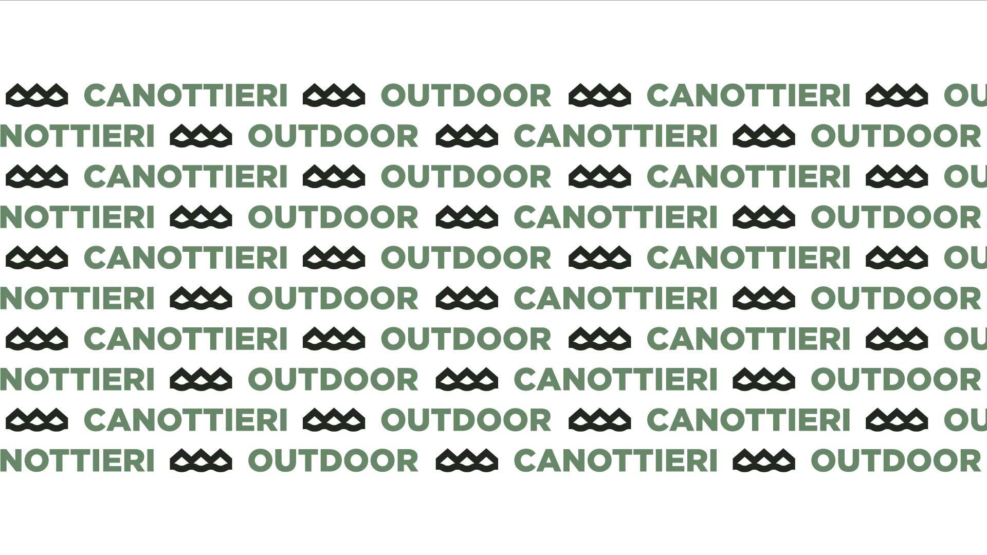 pattern della brand identity di canottieri outdoor che raffigura la scritta dell'azienda ripetuta in varie righe su sfondo bianco
