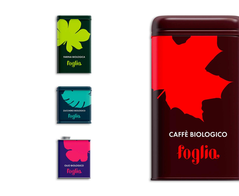quattro packaging di latta con logo e brand identity di Foglia di colore verde, blu, viola e rosso su sfondo bianco