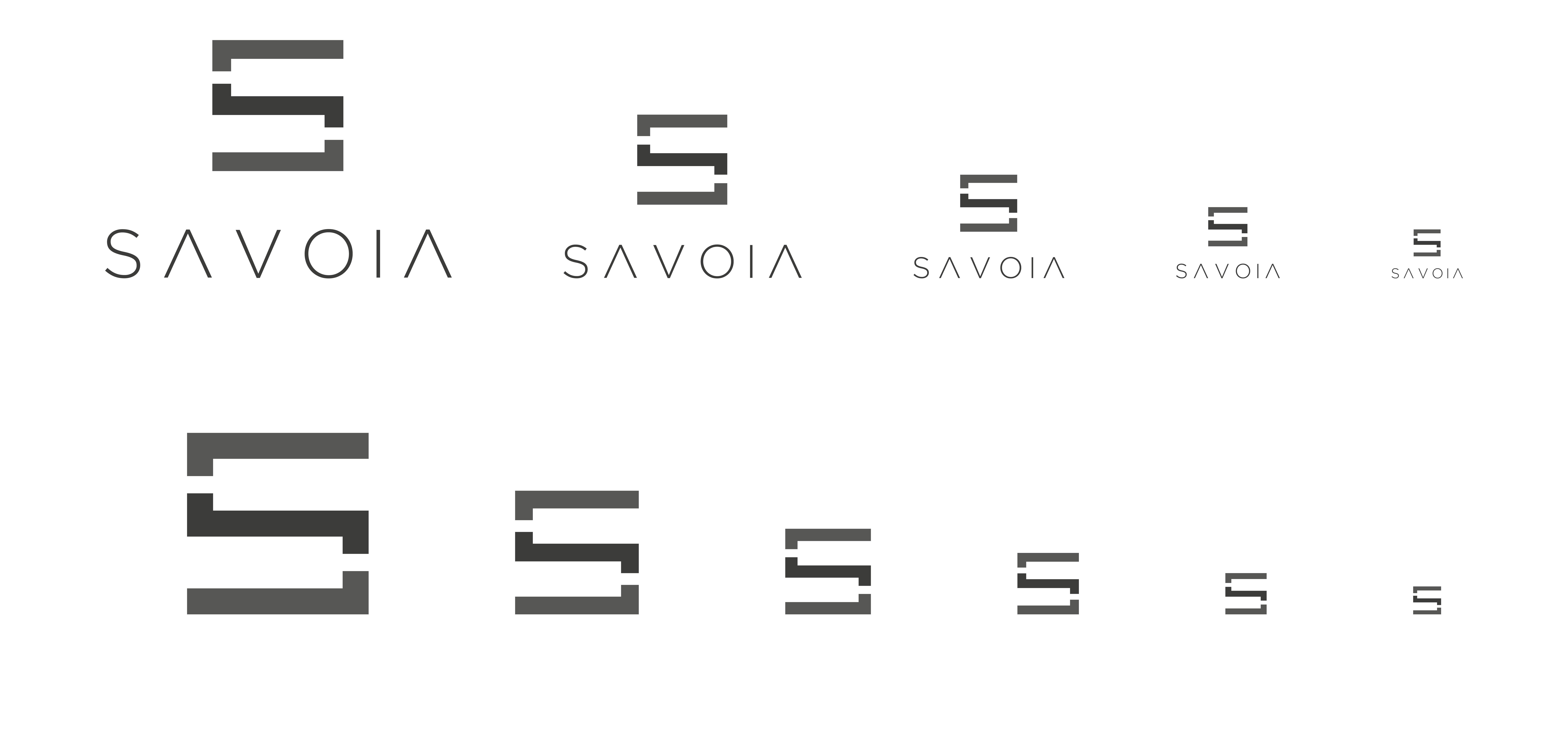 proporzioni del logo savoia dal più grande al più piccolo posti su due righe. i loghi sono di colore grigio su sfondo bianco