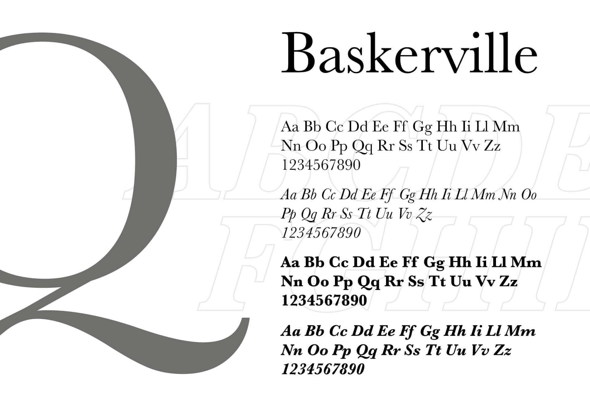 sulla destra una Q di grandi dimensioni e sulla sinistra vari tipi di paragrafi con il carattere tipografico baskerville. i caratteri sono di colore grigio su sfondo bianco
