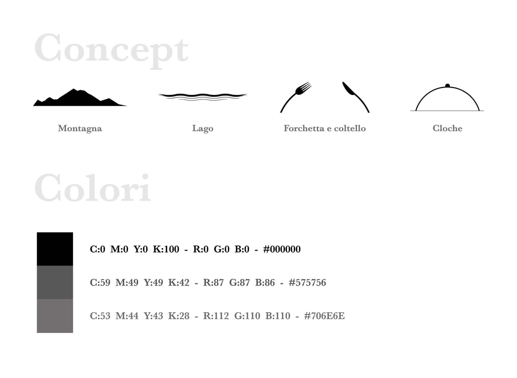 spiegazione del concept e della palette colori utilizzata per realizzare il logo e brand identity design di Vista Ristorante