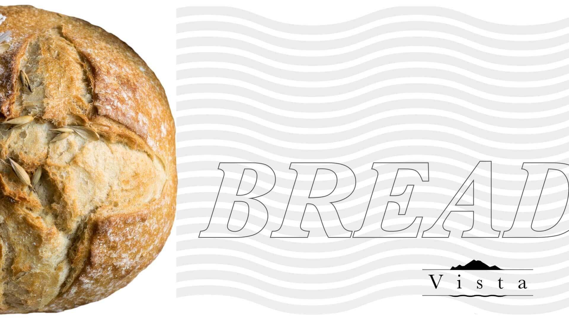 sulla sinistra un'inquadratura macro di un panino scontornato su sfondo bianco con il pattern della brand identity del Vista Ristorante