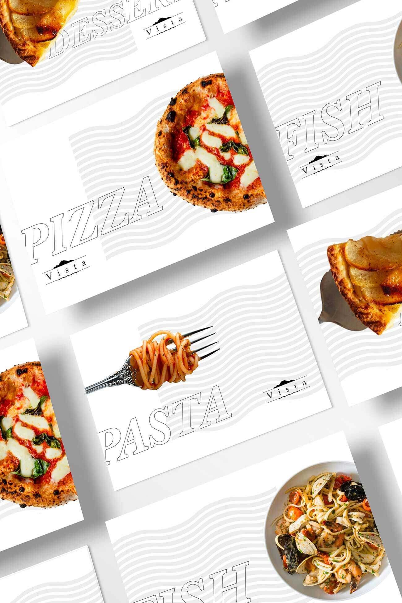 sequenza di card bianche con il logo e brand identity design di Vista Ristorante su sfondo bianco