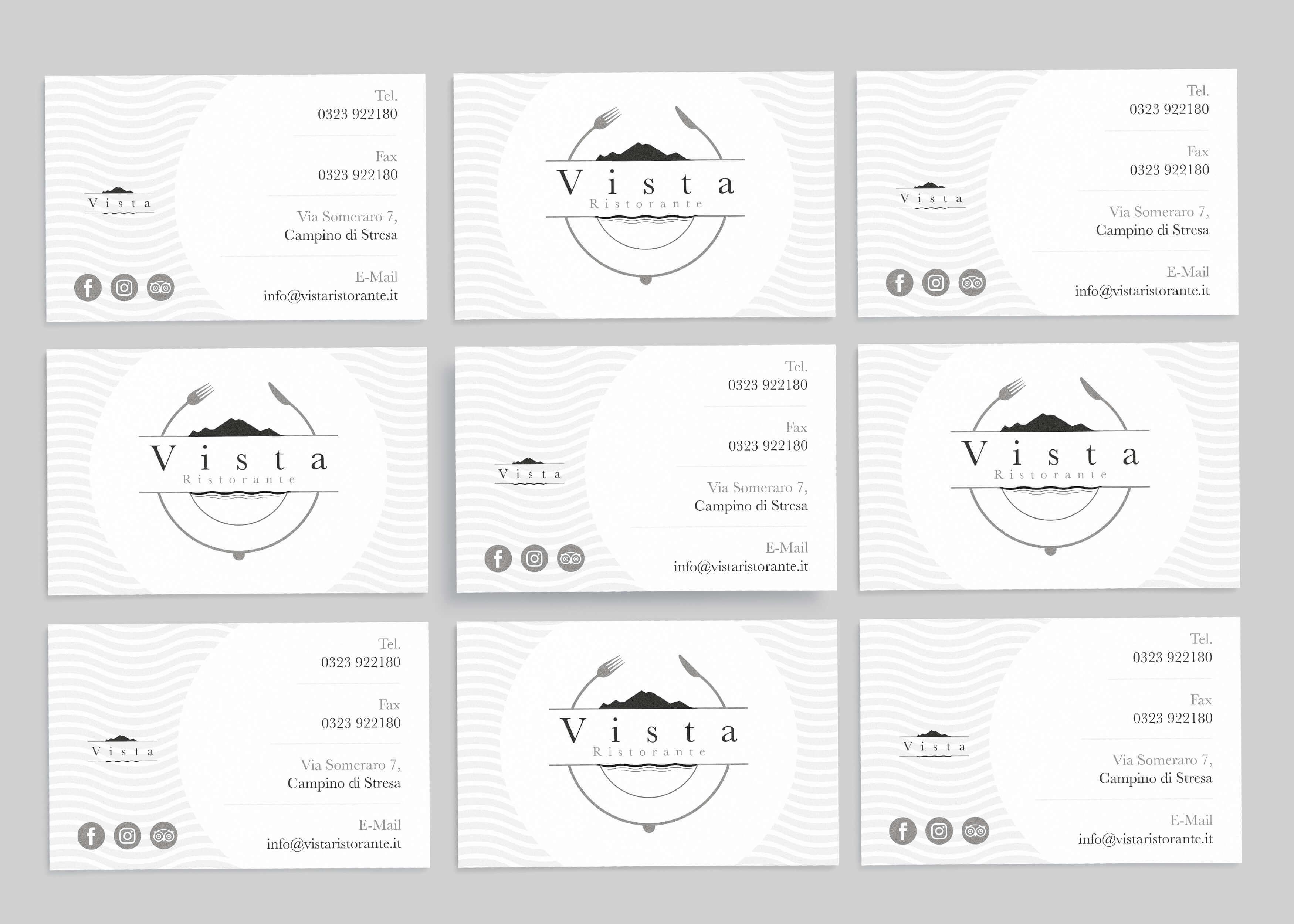 nove biglietti da visita fronte e retro bianchi con logo e brand identity design di Vista Ristorante su sfondo grigio chiaro