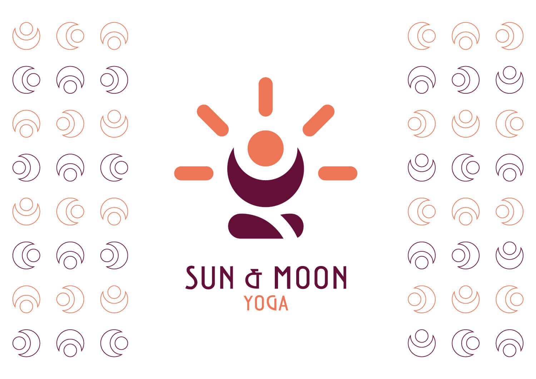 logo Sun & Moon Yoga di colore viola e arancione su sfondo bianco con ai lati un pattern del logo e brand identity design dell'azienda
