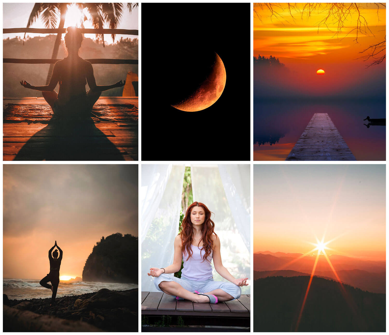 collage di sei foto poste in una griglia con i bordi di colore bianco. le foto raffigurano persone che fanno yoga, tramonti, sole e luna