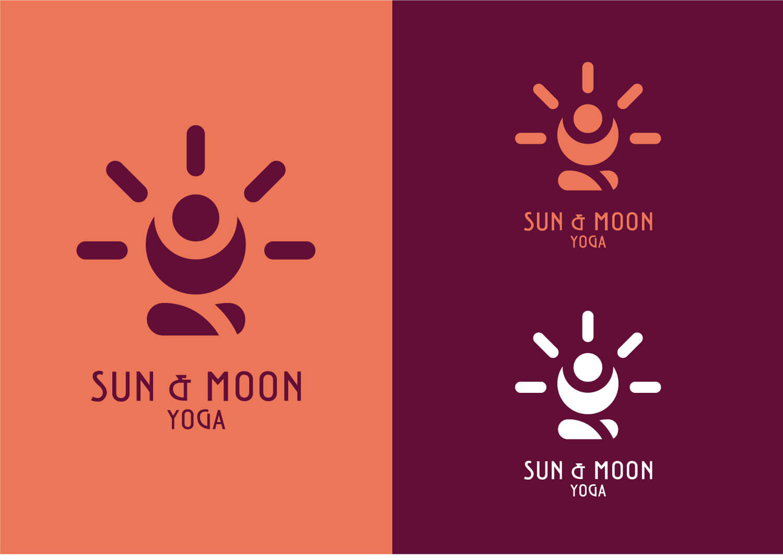 sulla sinistra il logo Sun & Moon yoga viola su sfondo arancione. Sulla destra due loghi di colore arancione e bianco su sfondo viola