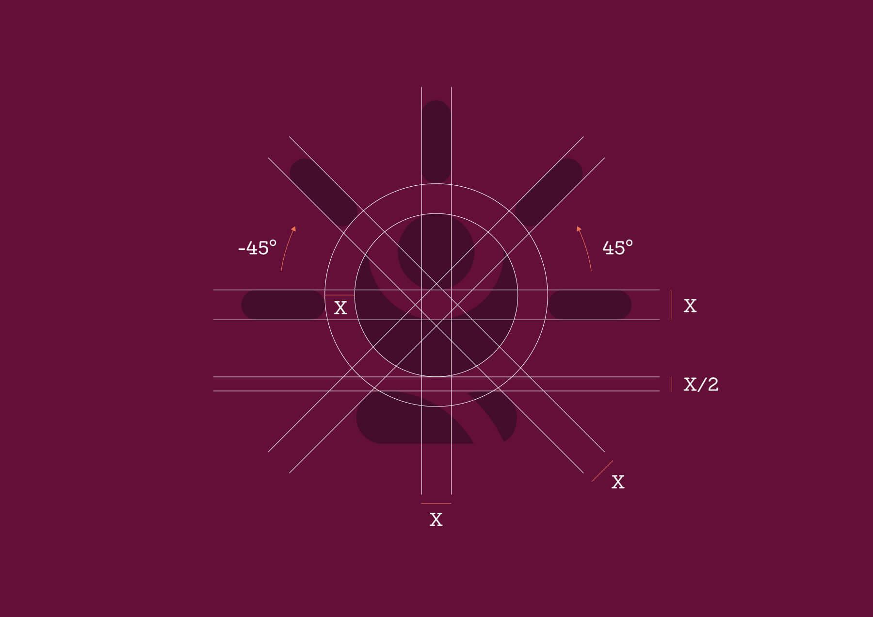 griglia di costruzione e proporzioni del logo Sun & Moon Yoga di colore viola scuro su sfondo viola con numeri bianchi