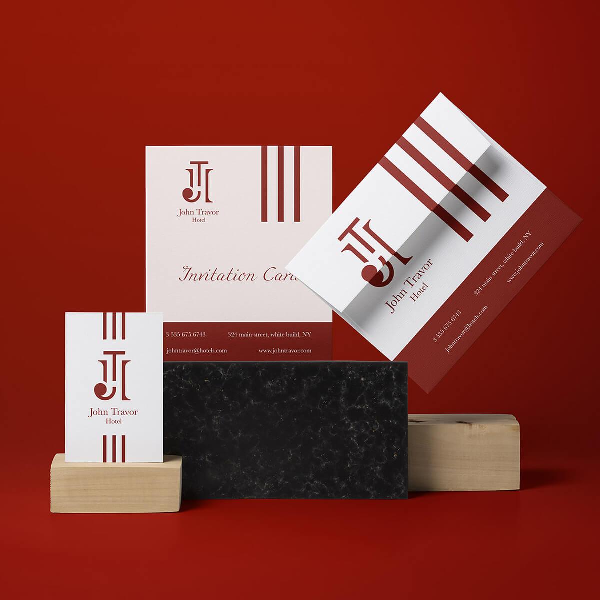 logo e brand identity design di john travor hotel su biglietto da visita, carta d'invito e busta su sfondo rosso