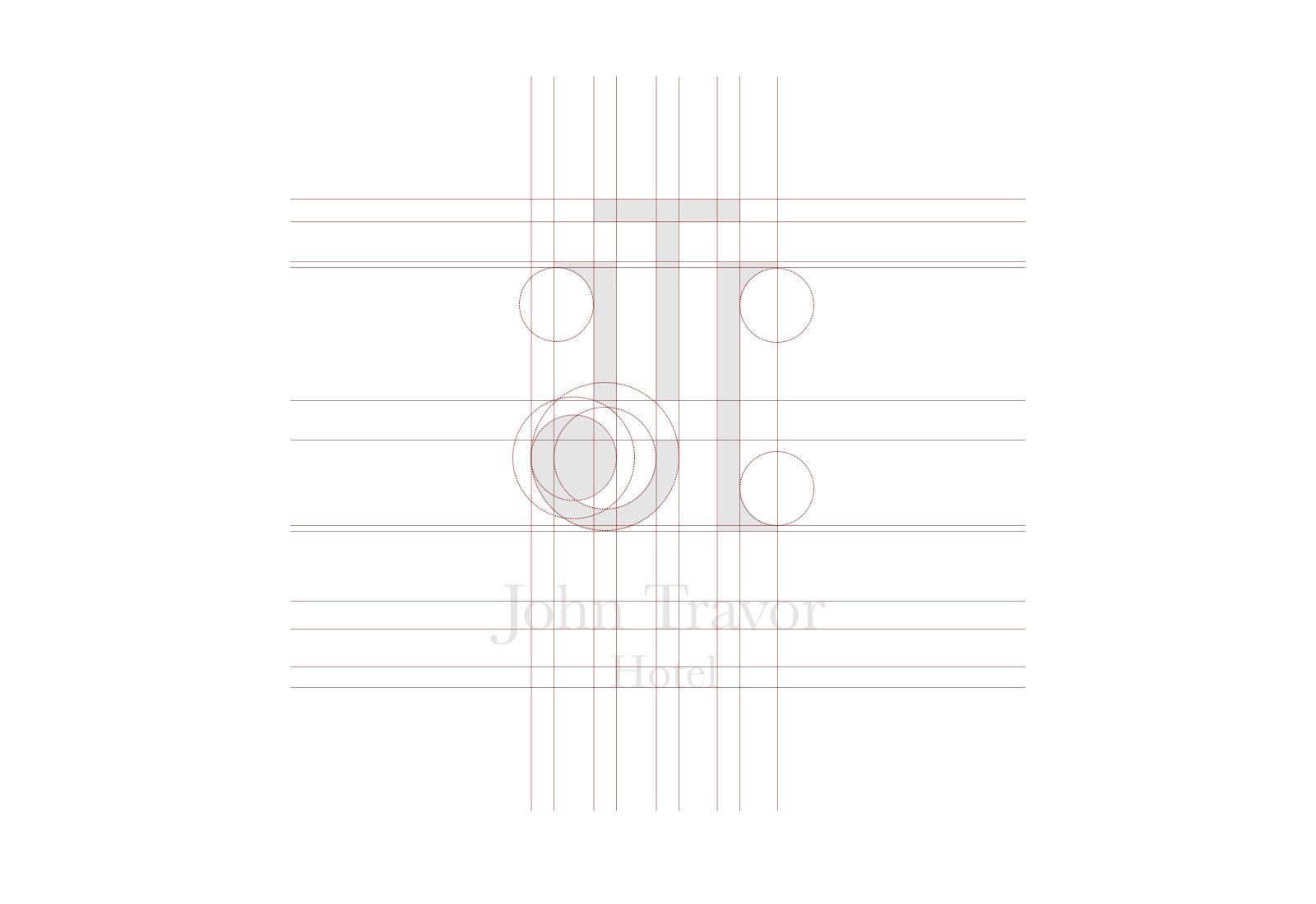 griglia di costruzione del logo di john travor hotel bordeaux su sfondo bianco