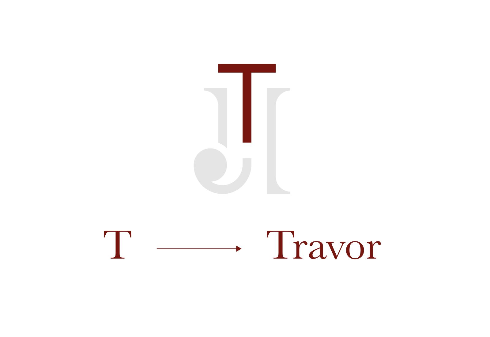 T di Travor evidenziata sul logo di john travor hotel bordeaux su sfondo bianco