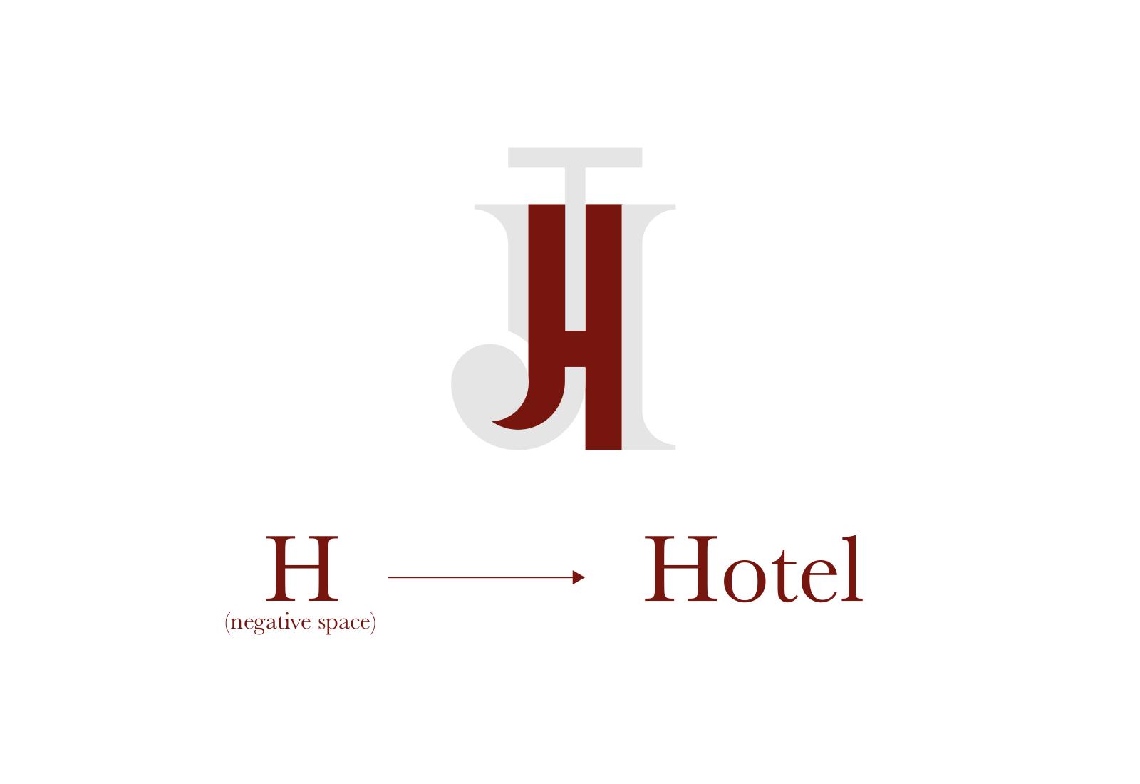 H di Hotel evidenziata sul logo di john travor hotel bordeaux su sfondo bianco