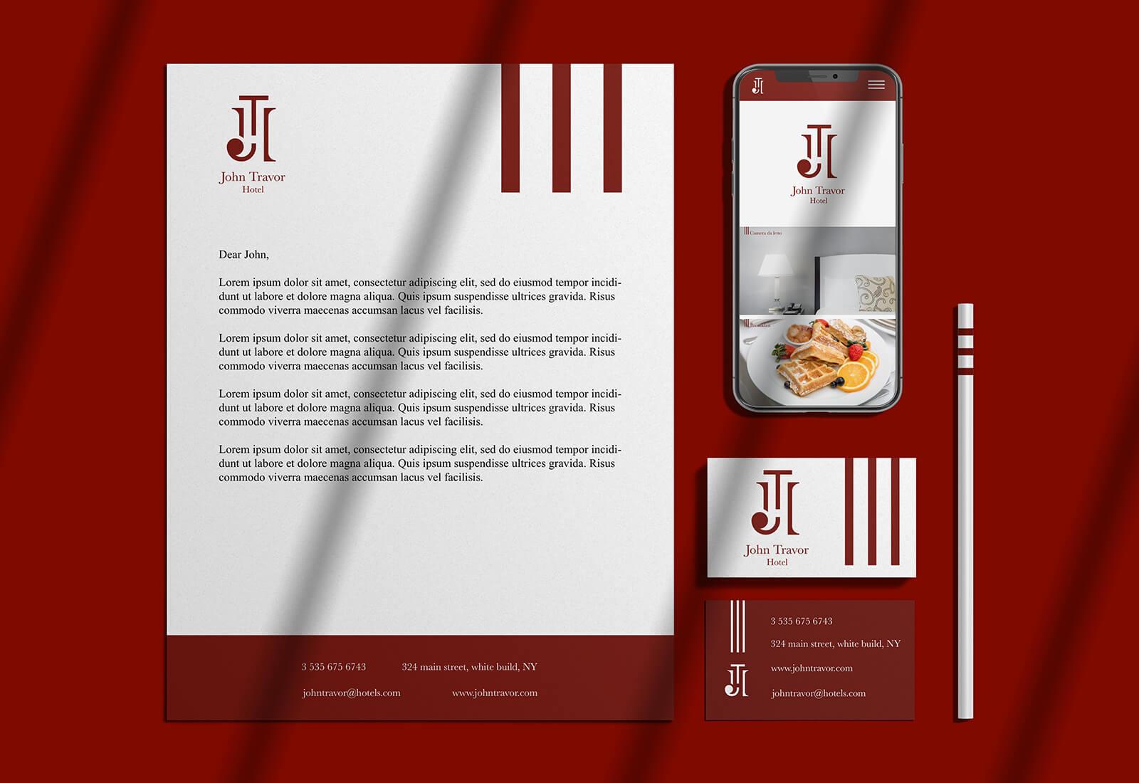 logo e brand identity design di john travor hotel su carta intestata e biglietto da visita bianchi e sul sito web visto su mobile. Tutti gli oggetti sono su sfondo bordeaux