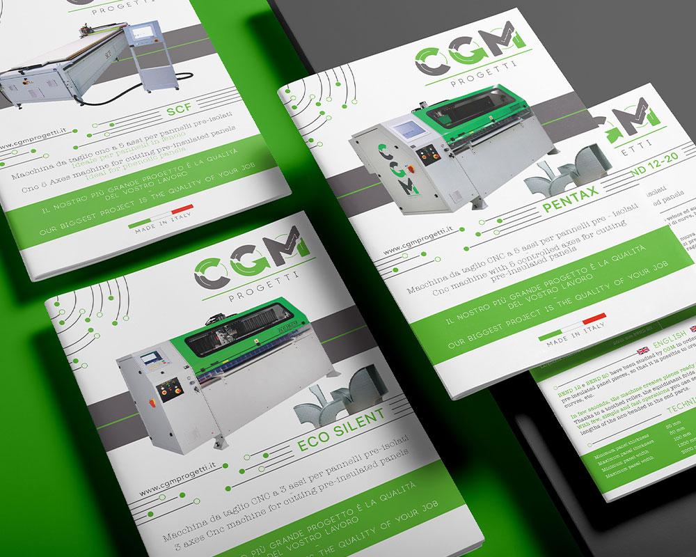 Serie di cataloghi con brand identity del logo CGM Progetti di colore verde e bianco.