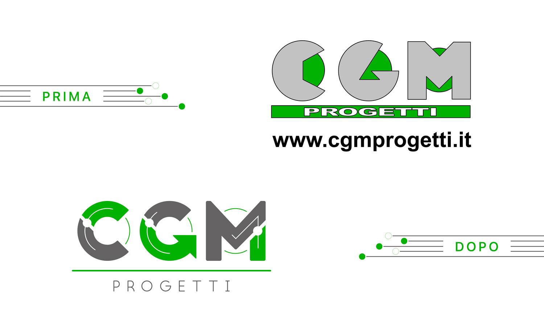 il vecchio e il nuovo logo di CMG Progetti in verde e grigio su sfondo bianco