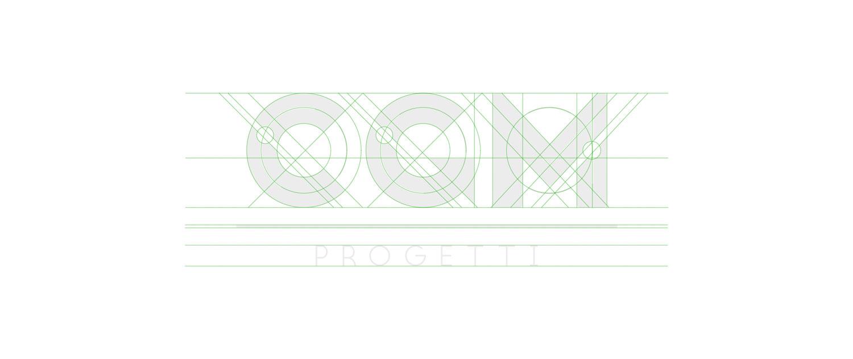 griglia di costruzione del logo CGM Progetti con linee verdi e logo grigio chiaro su sfondo bianco