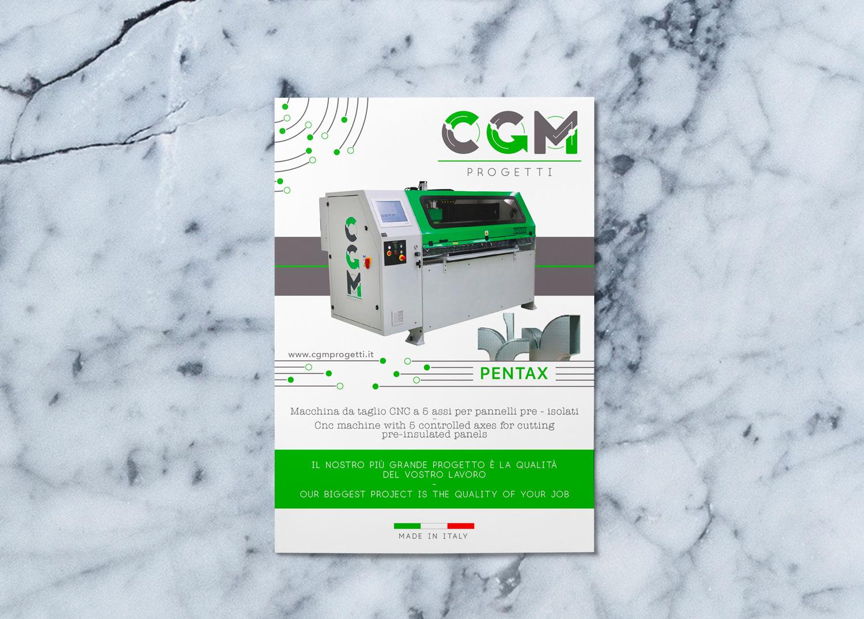 catalogo CGM Progetti bianco, verde e grigio su una superficie di marmo