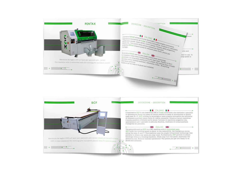 due brochure di CGM Progetti con a sinistra le foto delle macchine e a destra le descrizioni in italiano e inglese