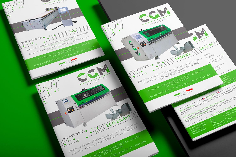 quattro cataloghi di CGM Progetti posti uno sopra l'altro su uno sfondo verde e grigio
