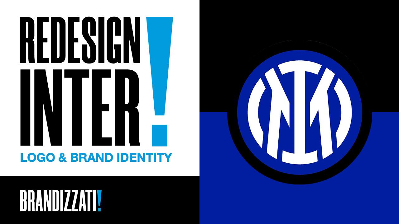 Sulla sinistra una scritta grande nera con un punto esclamativo blu e sulla destra il nuovo logo dell'inter milano