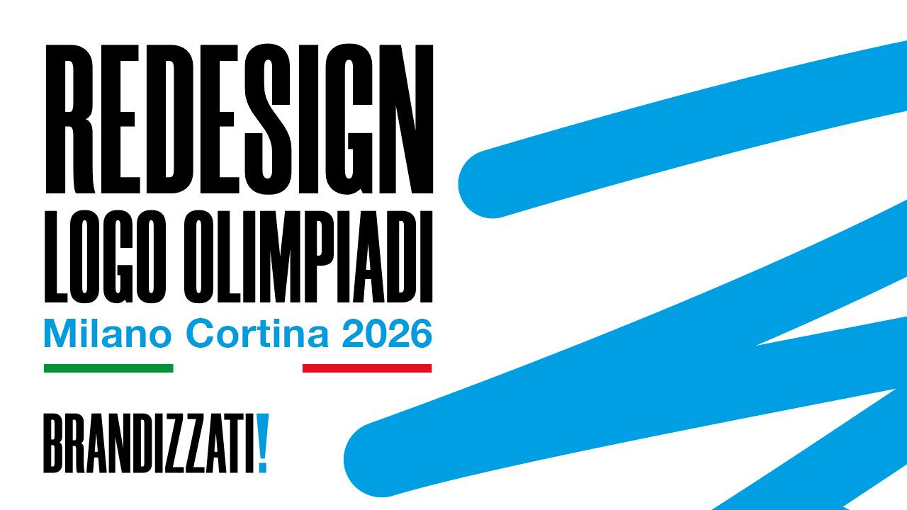 sulla sinistra scritte in maiuscolo di colore nero con bandiera dell'Italia e sulla destra uno scarabocchio di colore blu