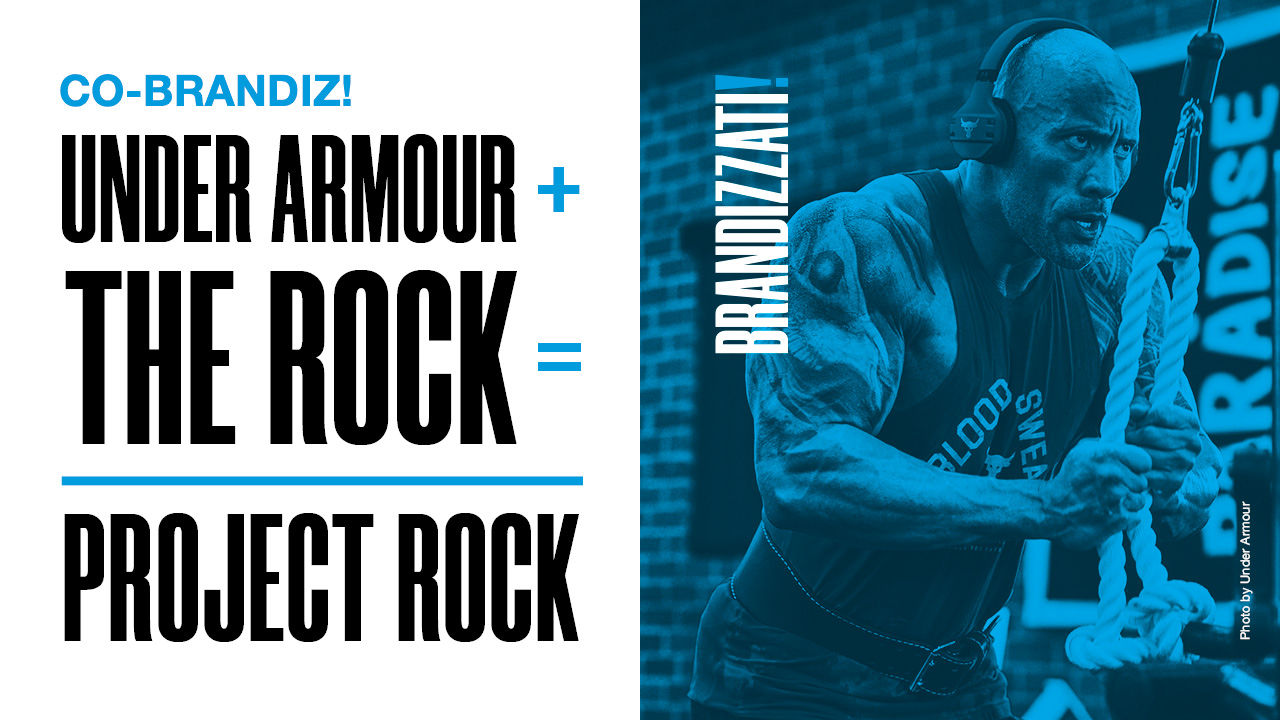 sulla sinistra scritte in maiuscolo nero e sulla destra una foto di Dwane The Rock Johnson con un filtro blu