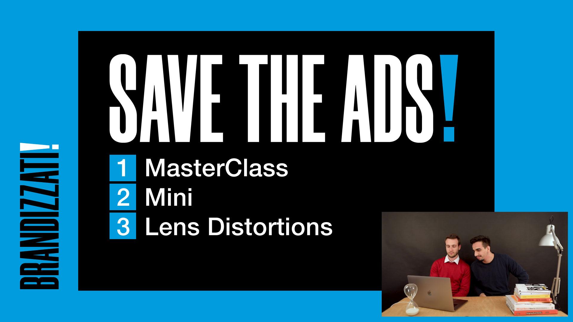 """rettangolo nero sopra un rettangolo ciano con scritta in maiuscolo """"SAVE THE ADS"""" con un elenco puntato a 3 righe"""