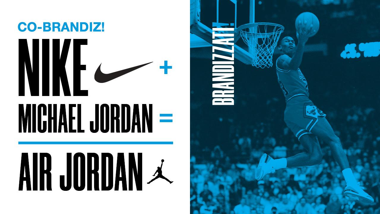 """Scritte """"Nike + Michael Jordan = Air Jordan"""" di colore nero con di lato una foto di Michael Jordan con un filtro blu"""