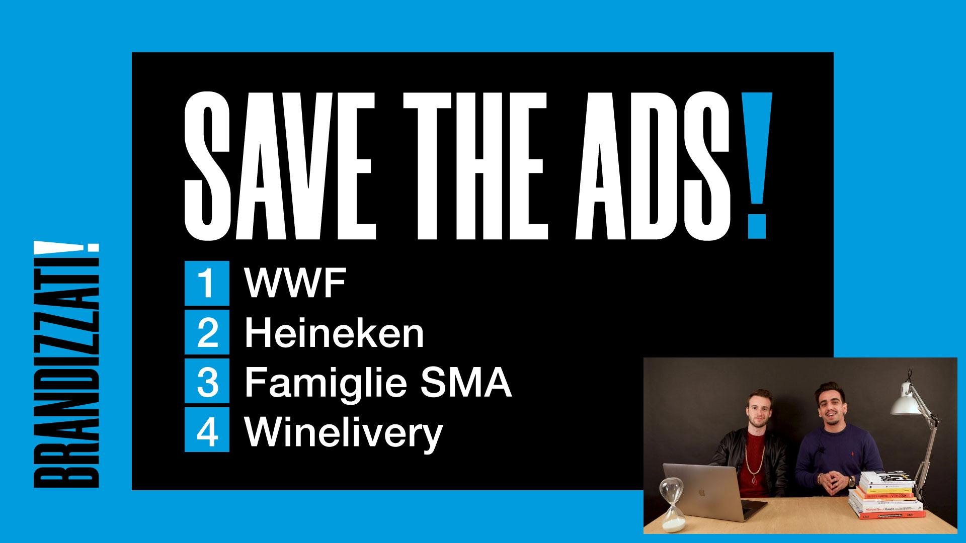 Titolo in bianco SAVE THE ADS! con elenco numerato blu su sfondo nero e blu