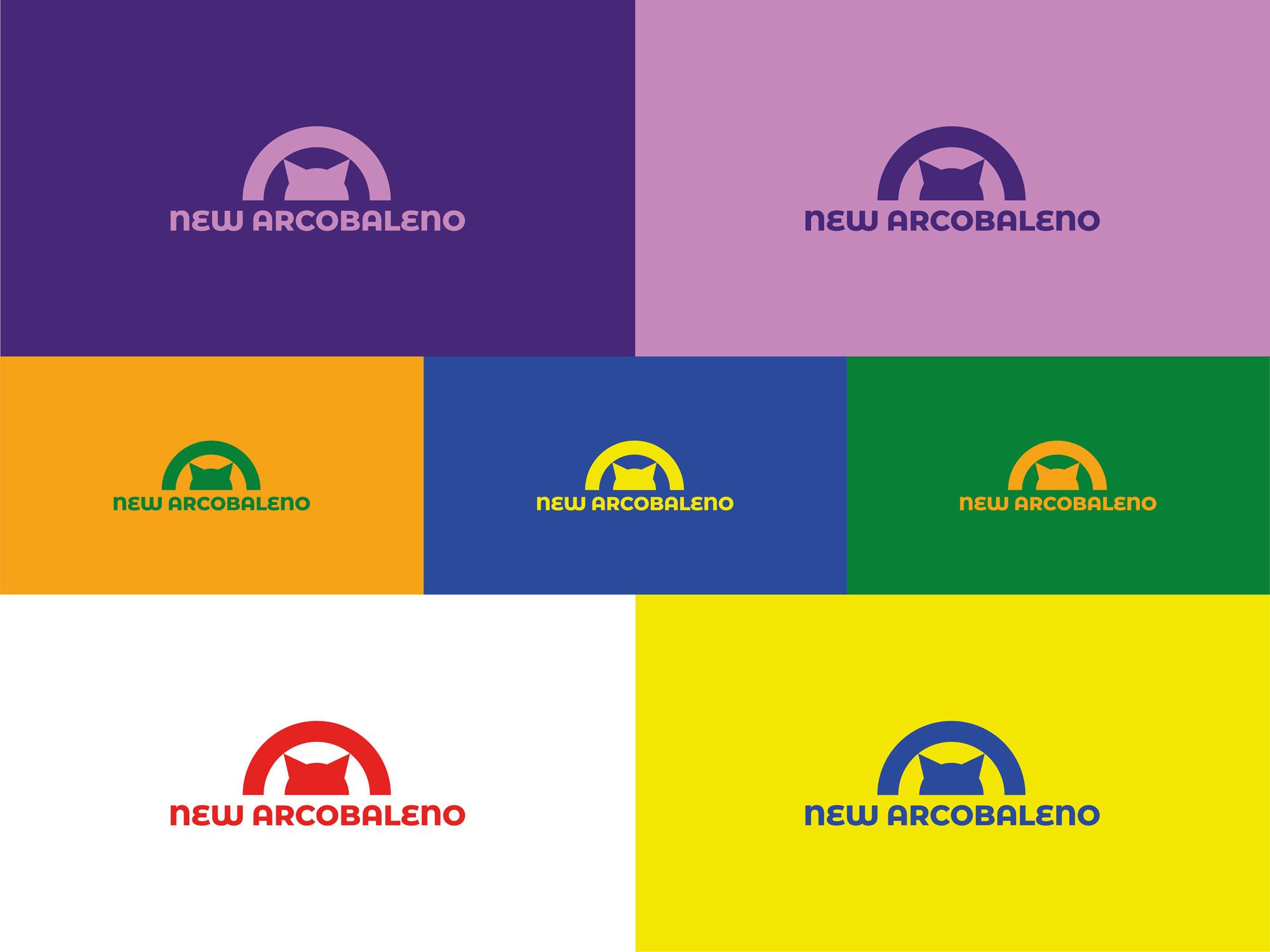 Logo della merceria New Arcobaleno nelle differenti versioni e colori