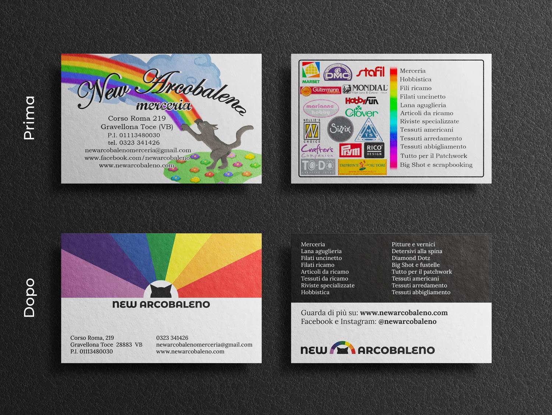 Rebrand dei biglietti da visita e della brand identity della merceria di New Arcobaleno