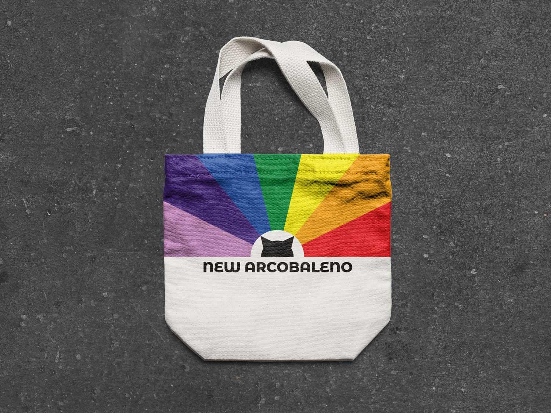 Borsa di stoffa con il logo e la brand identity di New Arcobaleno