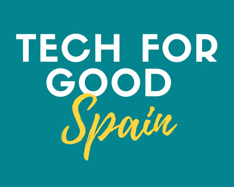 Logo Tech For Good Spain en blanco y amarillo con fondo verde