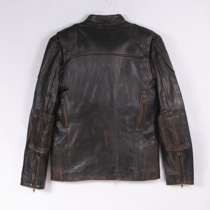 Back of Brown Leather Motorcycle Jacket