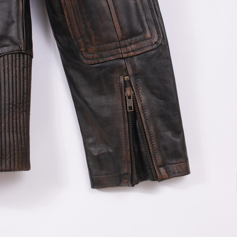 Cuff with Zipper Detail of Brown Leather Motorcycle Jacket