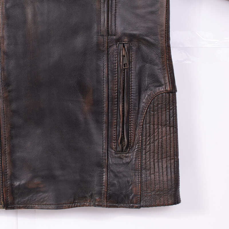 Fabric Detail of Brown Leather Motorcycle Jacket