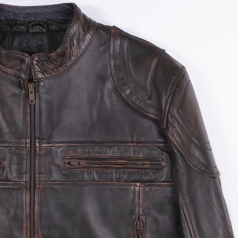 Shoulder and Collar Detail of Brown Leather Motorcycle Jacket