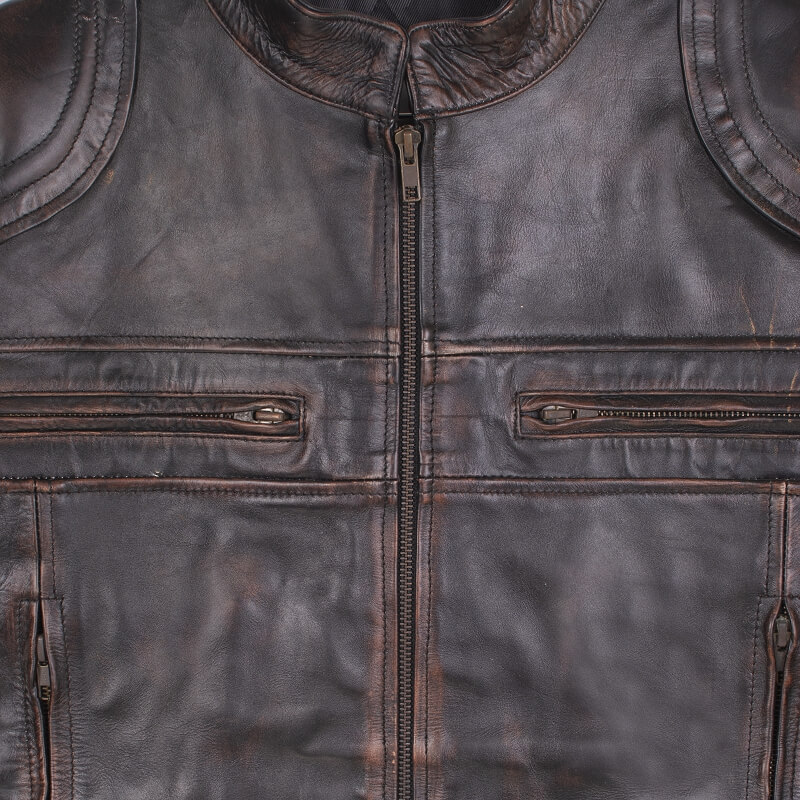 Chest and Front Zipper Detail of Brown Leather Motorcycle Jacket